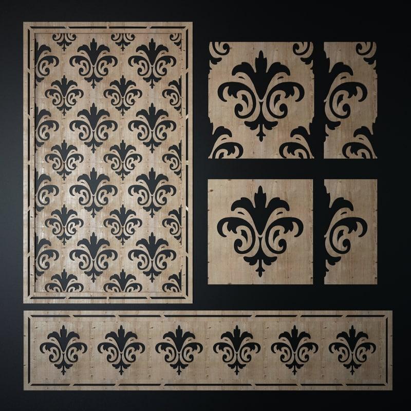 decorative laser cutting pattern 3d obj
