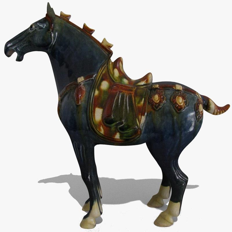 obj figurine horse statuettes