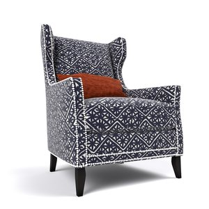 3d wing chair fairfield model