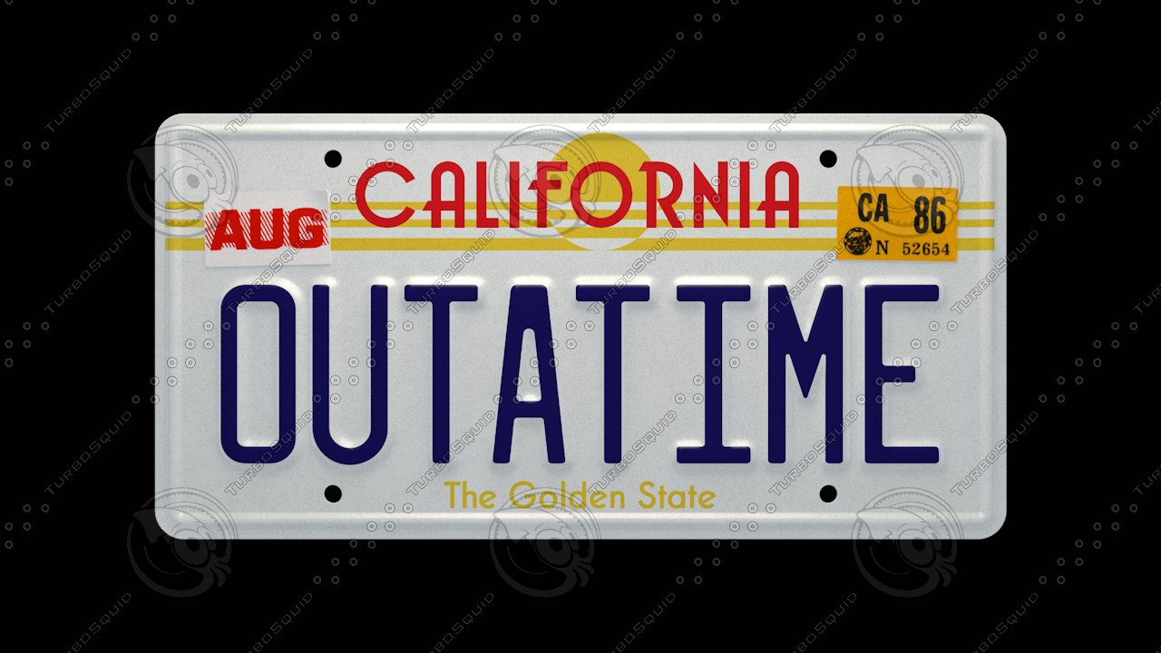outatime license plate time machine 3d c4d