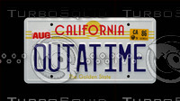 Back to the Future OUTATIME License Plate