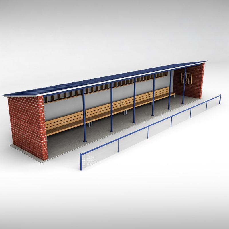 stadium baseball dugout 3d model