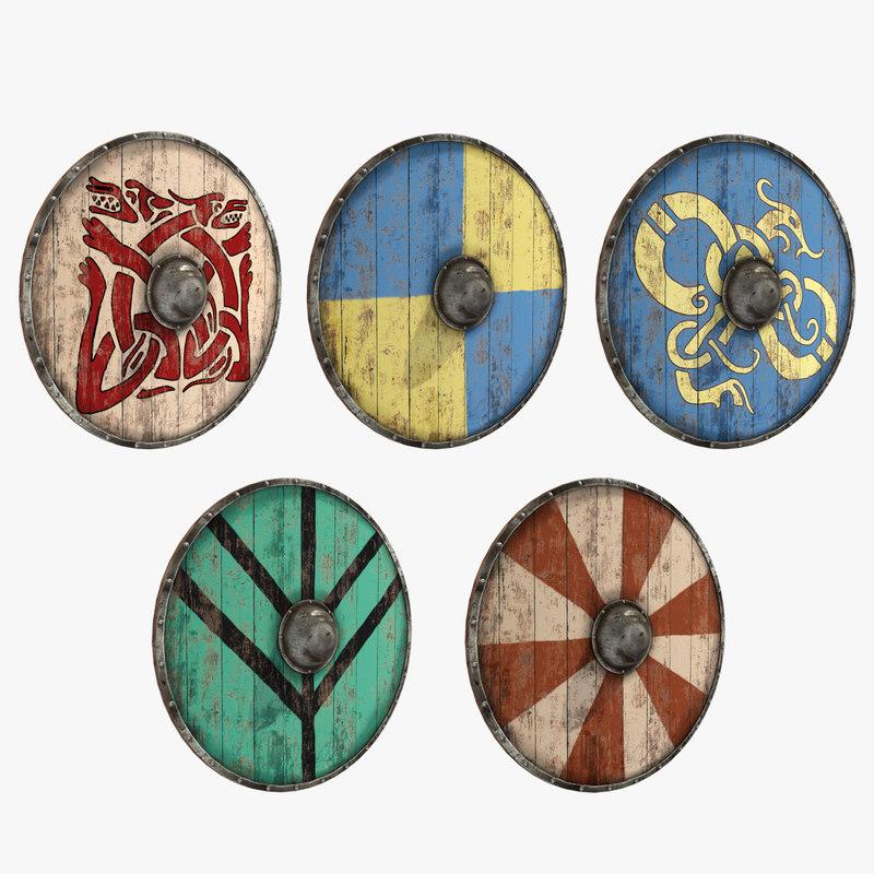 3d viking shield set model