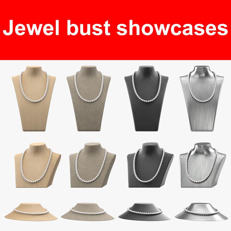 3d model of jewel bust showcases