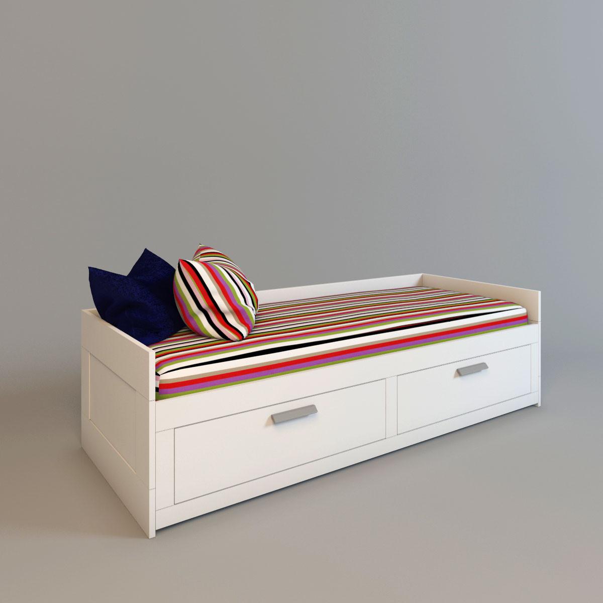 brimnes bed interior 3d model, Hause deko