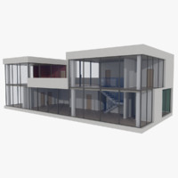 modernist house seven with interior textured