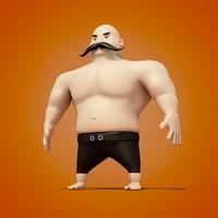 cartoon turkish oil wrestler 3d obj