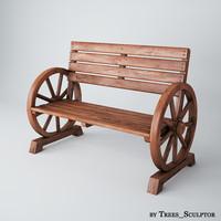 garden bench 3d max