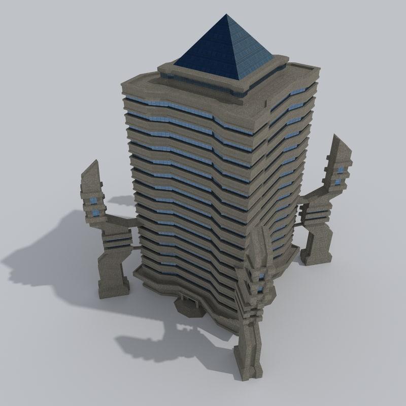 3ds futuristic office building