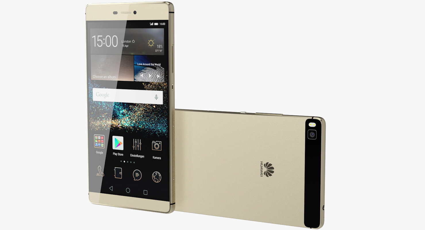 3d model realistic huawei p8 gold