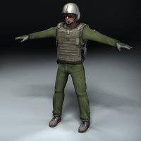 military pilot figure 3d 3ds