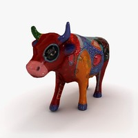 3d clay cow statuette model