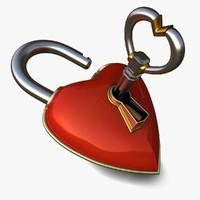 3d model heart lock