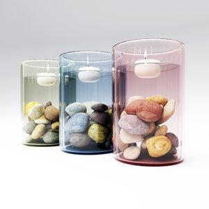 3d decor candle glass model