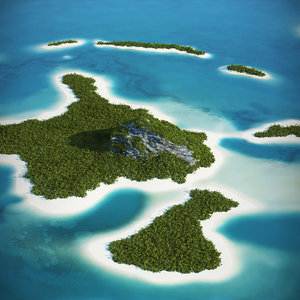 3d model tropical island mountain landscape