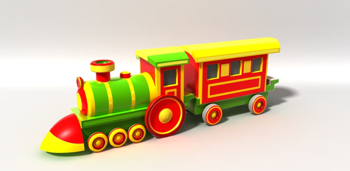 cartoon train 3d obj