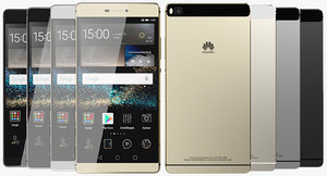 realistic huawei p8 colors 3d model