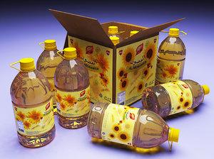 cooking oil bottles 3d model