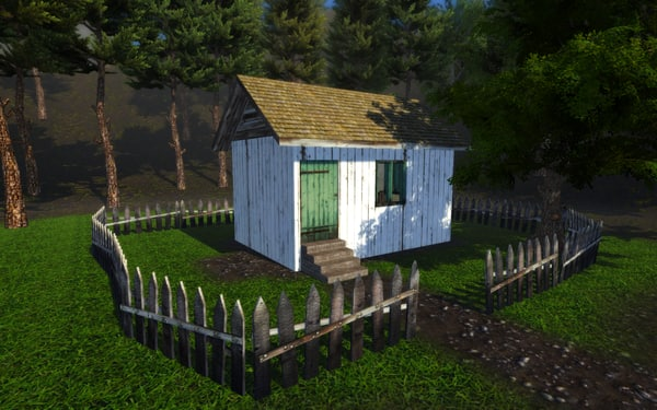 free 3ds mode wooden house fence