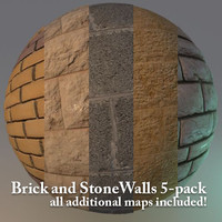 Brick and Stone Walls - 5 Hi-res Textures