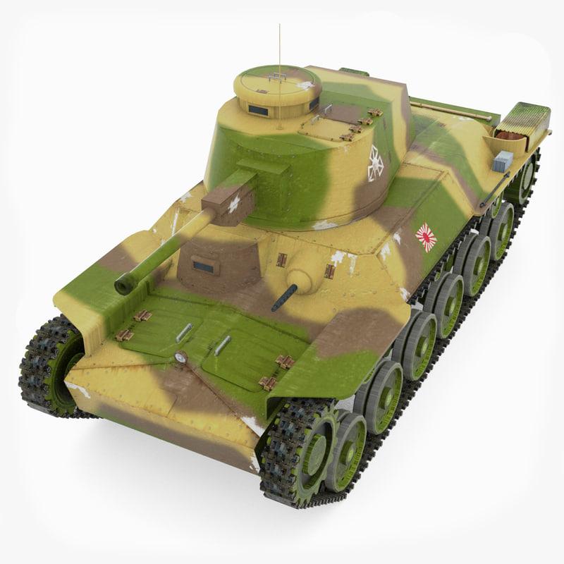 3d model of japanese tank type chi-ha