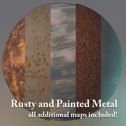 Rusty and Painted Metal - 5 Hi-res Textures