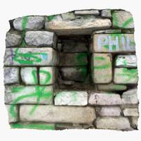 3d stone niche model