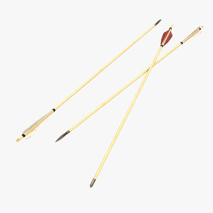 bow arrows set 3d model