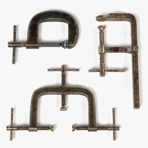 3d model rusty clamps