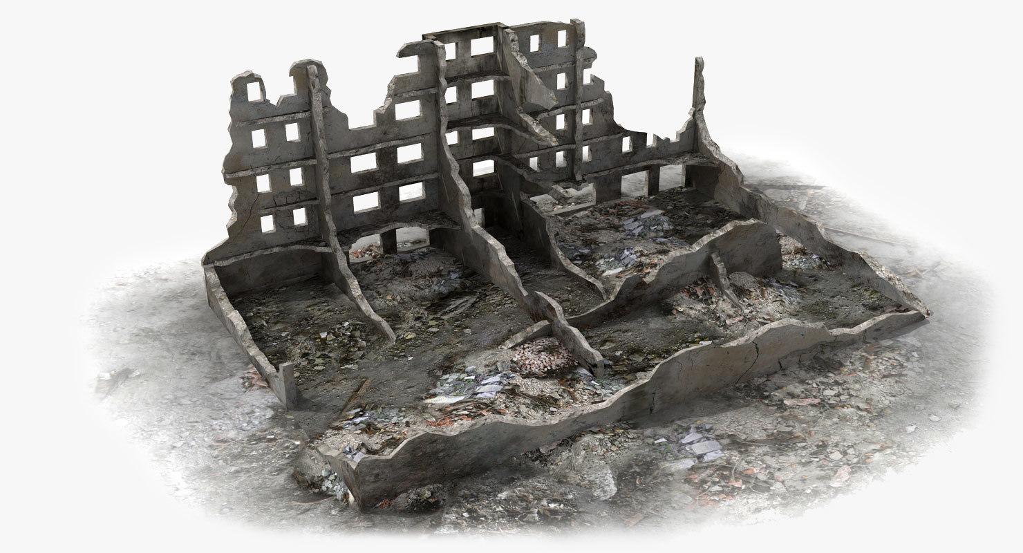 abandoned ruined building world war 3d model
