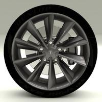 3d model tesla s wheel modeled
