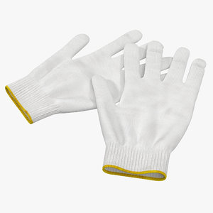 3d cotton work gloves model
