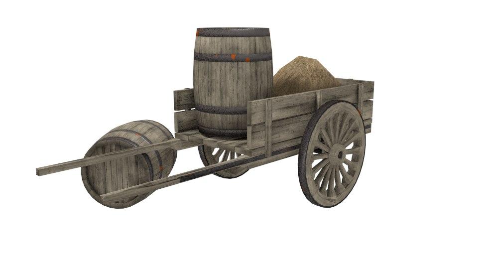 wooden cart 3d obj