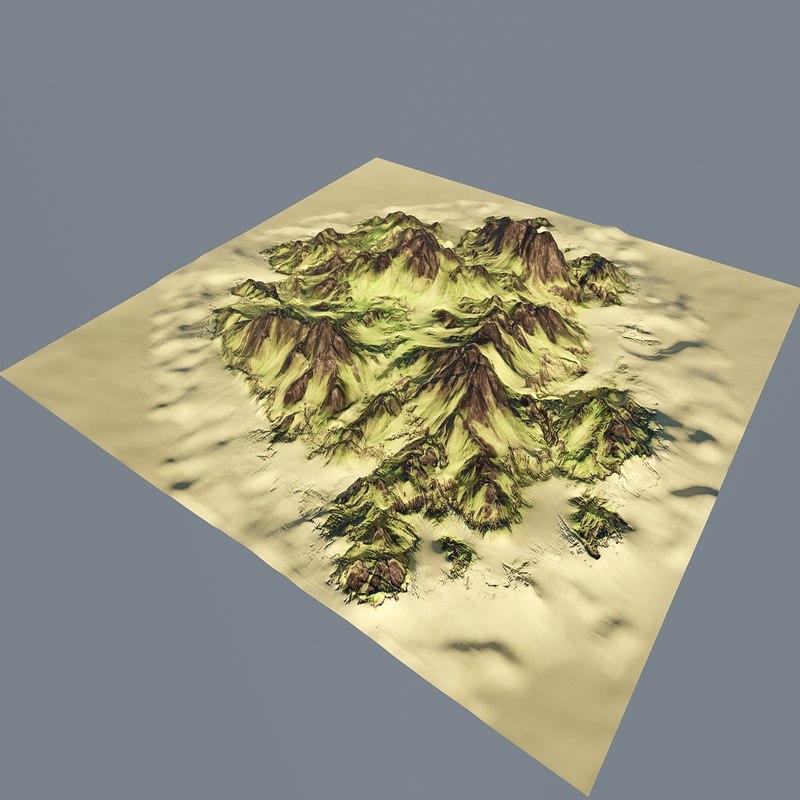 3d island mountain model