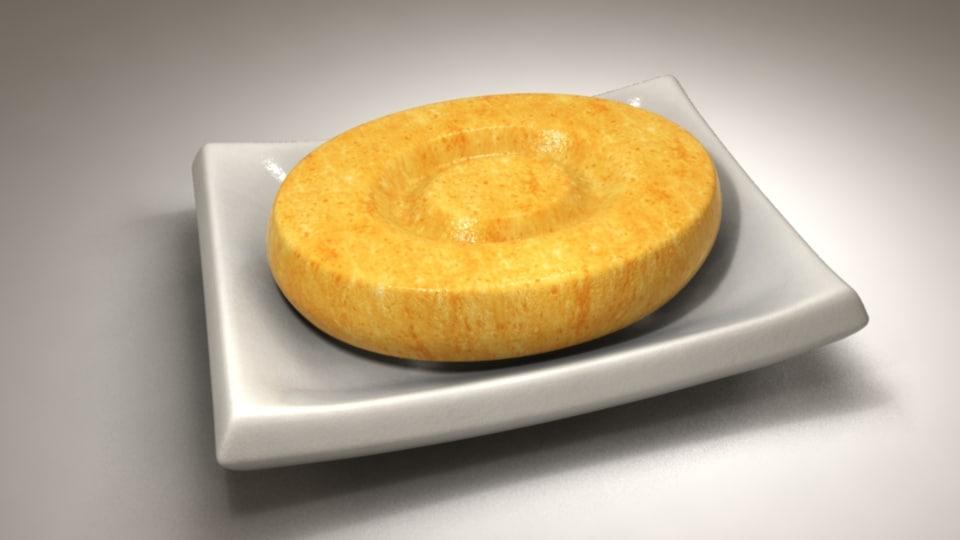 3d honey soap white dish