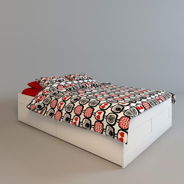3d ikea brimnes bed drawers
