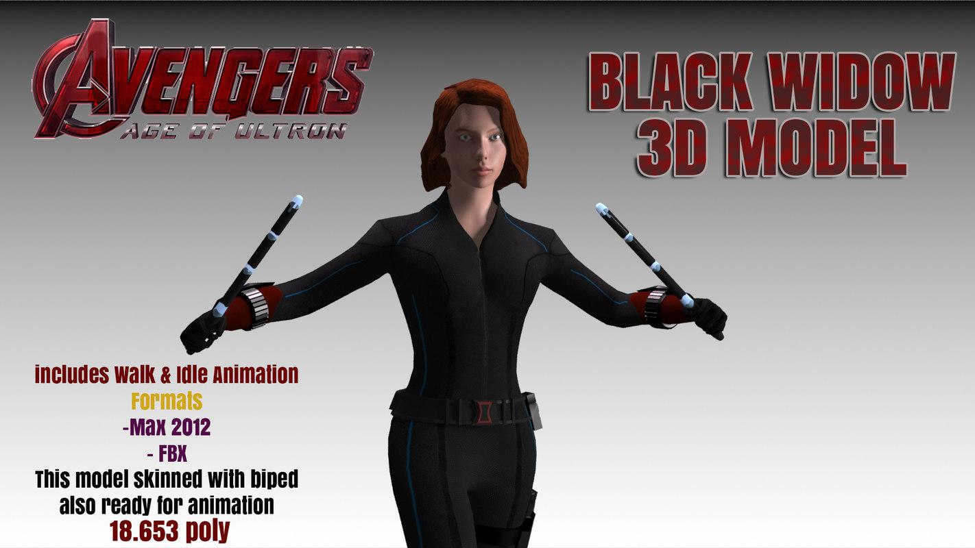 3d black widow avengers modelling model