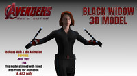 3d black widow avengers modelling model