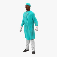 3d max male african american surgeon