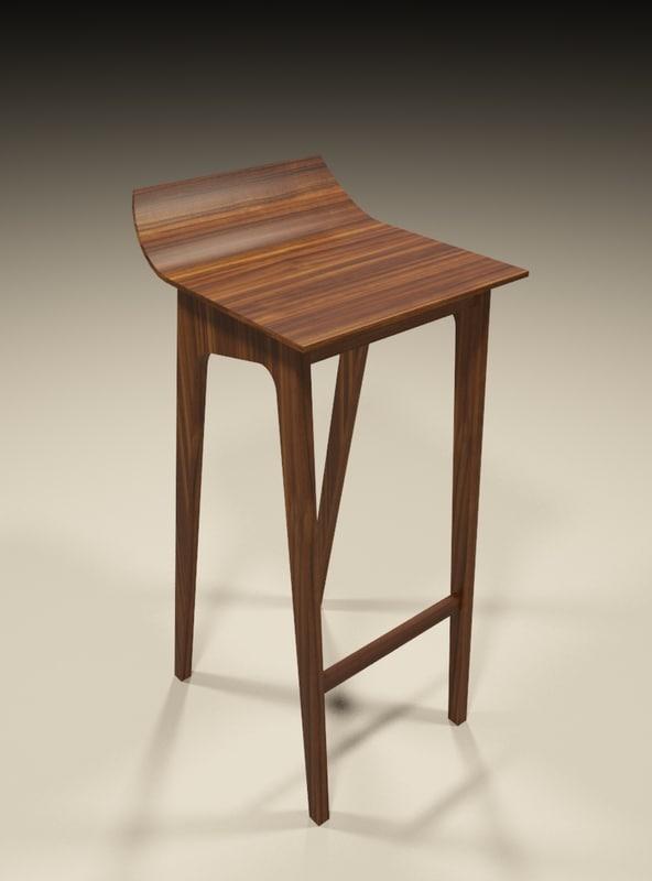 3d wooden bar stool