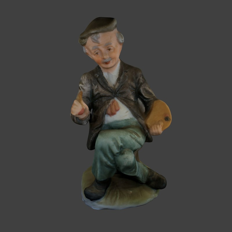 free hand ceramic man sitting 3d model