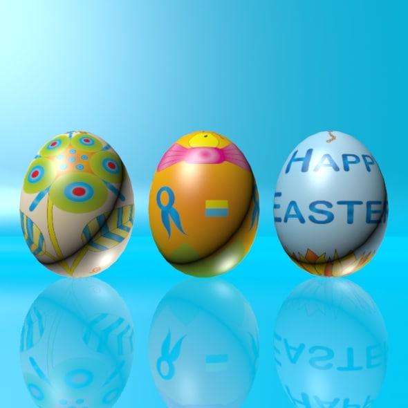 eggs set easter 3d model