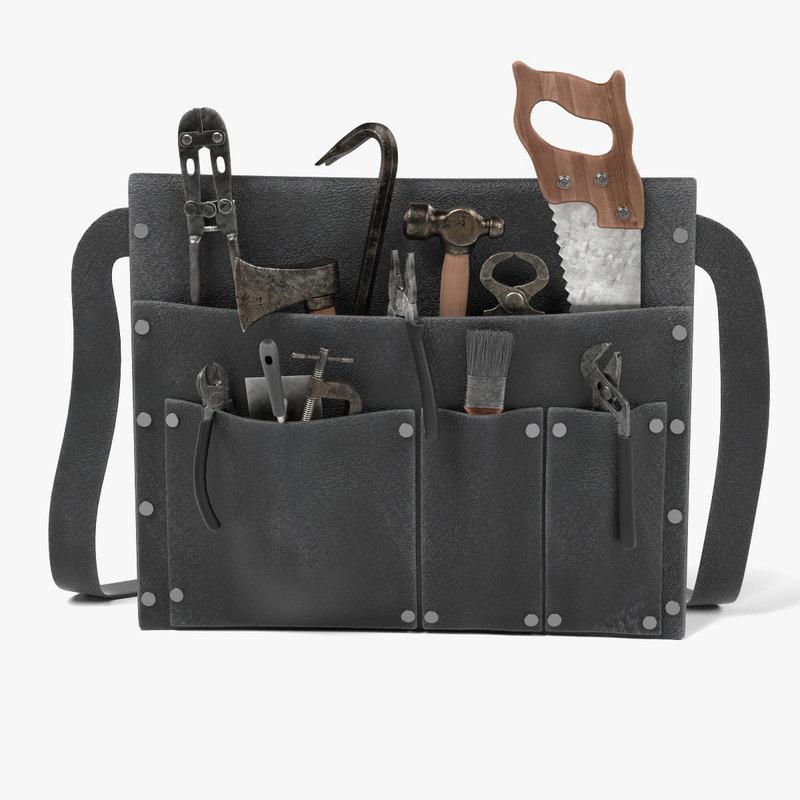 old toolbag tools 3d model