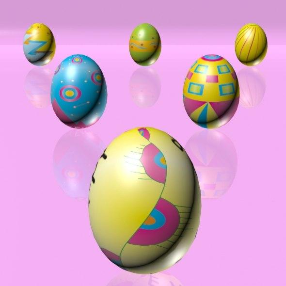 3d eggs set easter