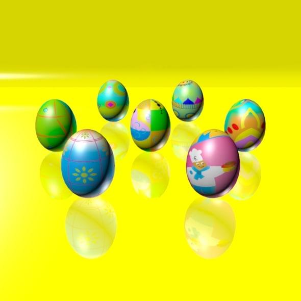 eggs set easter 3d max