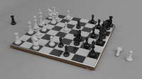 Chess Set + Board High Poly