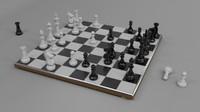 3d chess set board polys