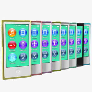 3d model ipod nano set