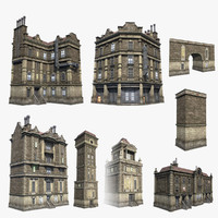 set brick houses 3d model