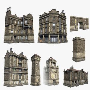 set brick houses 3d model